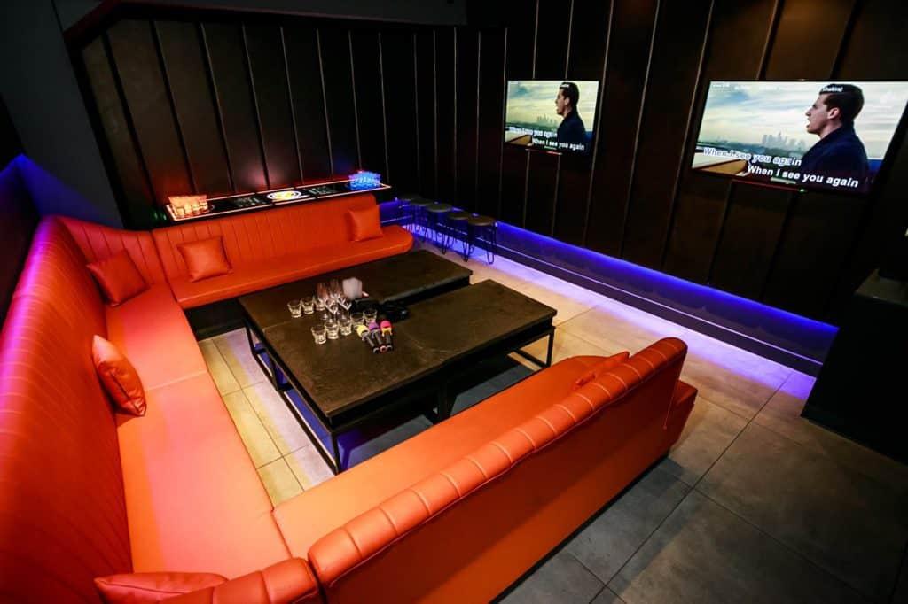 Sleek karaoke room in London