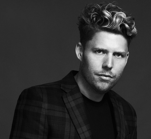 Male model with fashionable hairstyle