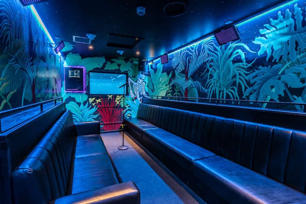 Karaoke space with blue lighting in London