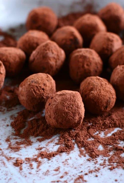 Close-up of Belgian chocolate truffles