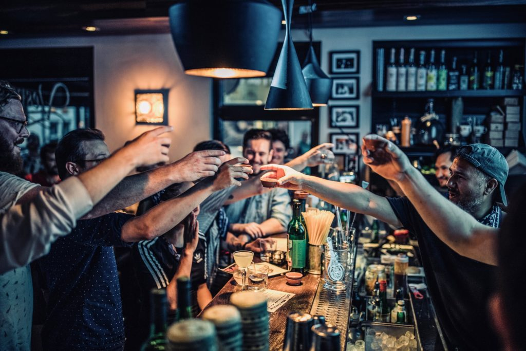 Men enjoying a drink in an Amsterdam bar
