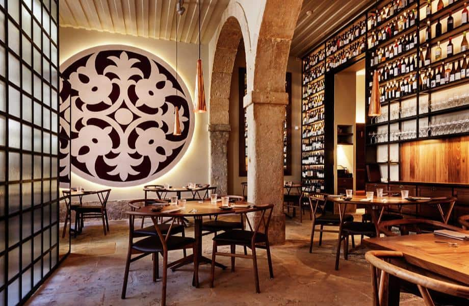 Eating spot with beautiful traditional Portuguese artwork and ancient stone walls