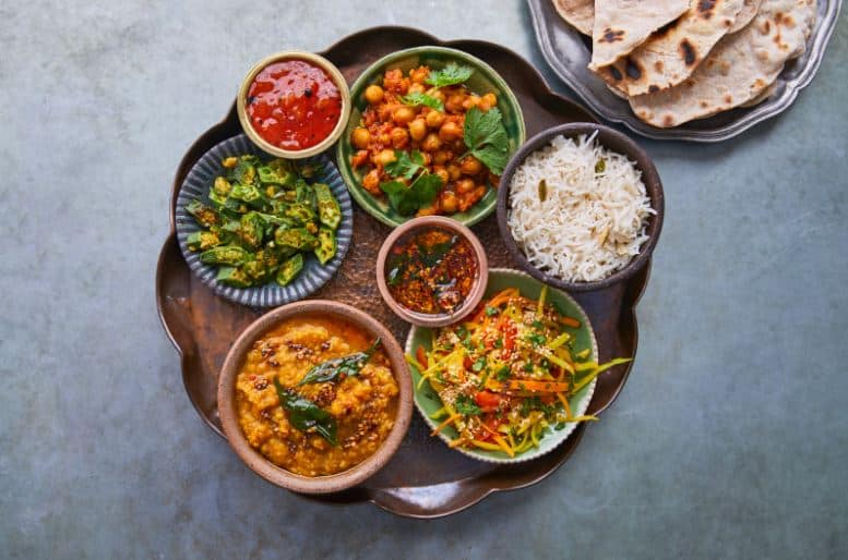 Array of self-made dips via Jamie Oliver Cookery School at online cooking classes