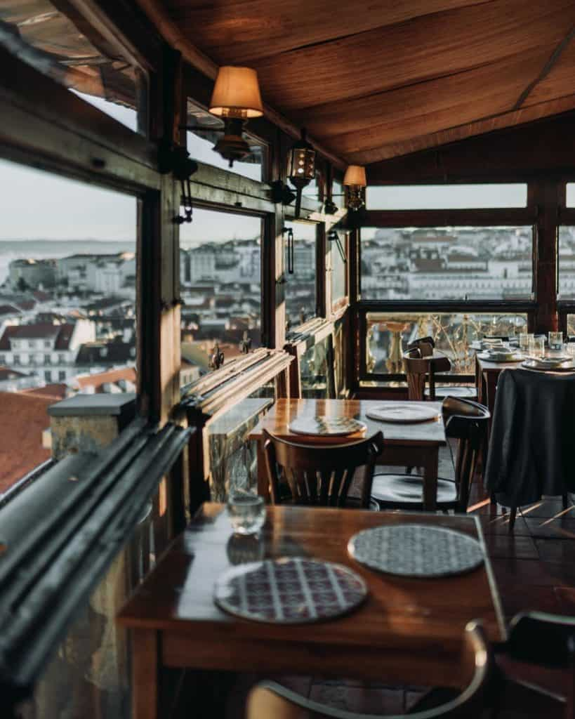 Cosy restaurant with dark interior and a view