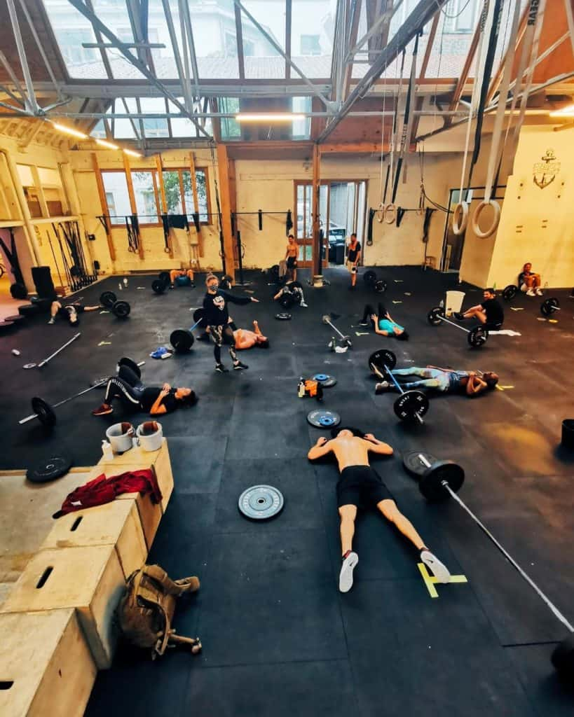 Resting people after an intense crossfit