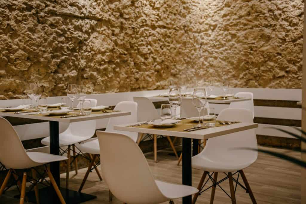 Private dining restaurant with exposed stone walls