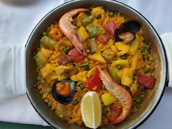 Close-up of Paella dish