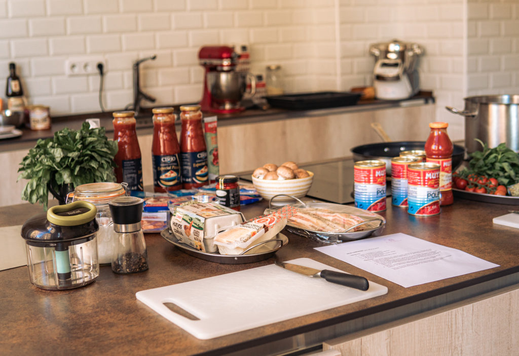 Set up of ingredients for a spanish cooking class