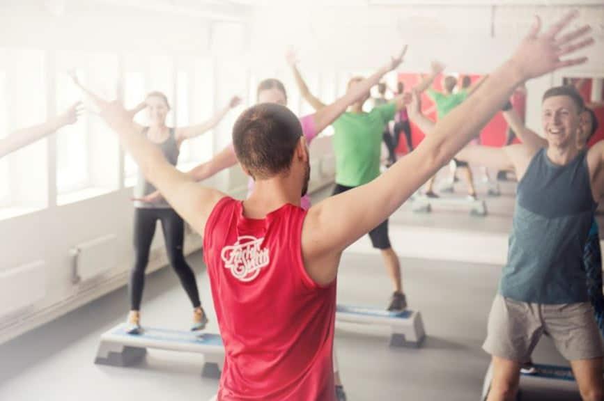 Trainer teaching a fitness class