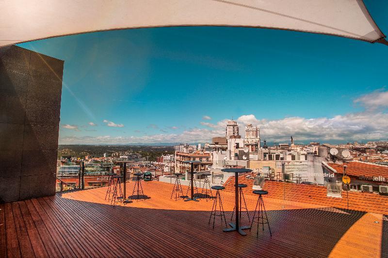 Spacious rooftop terrace overlooking Madrid