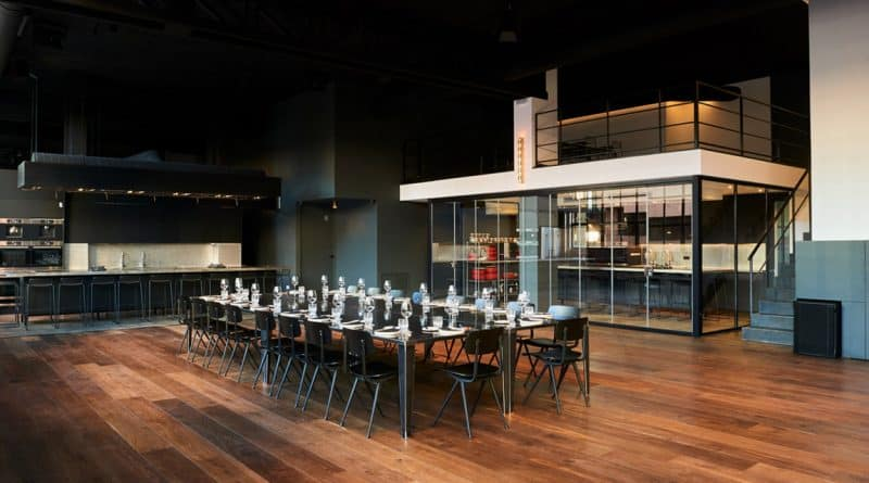 Set table in modern kitchen for cooking classes