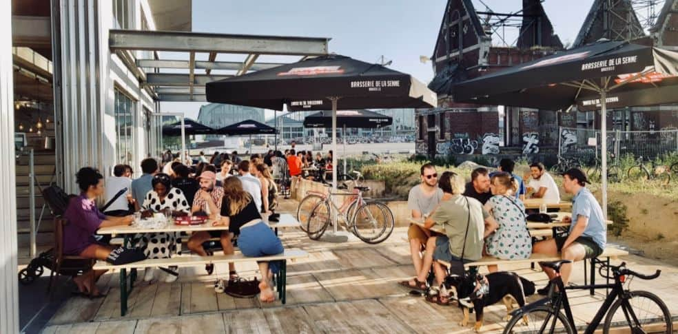 Outdoor terrace of Brasserie de la Senne for beer tastings in Brussels