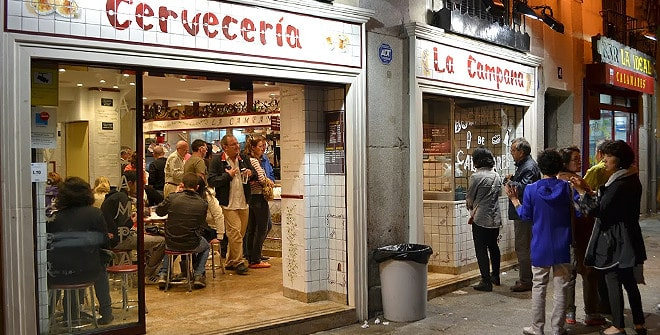 Facade of La Campana restaurant in Madrid