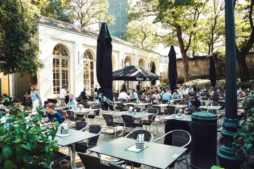 Cozy outdoor terrace in a Brussels park