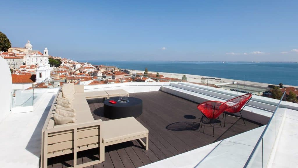 Panoramic roof terrace with view of Lisbon and sea