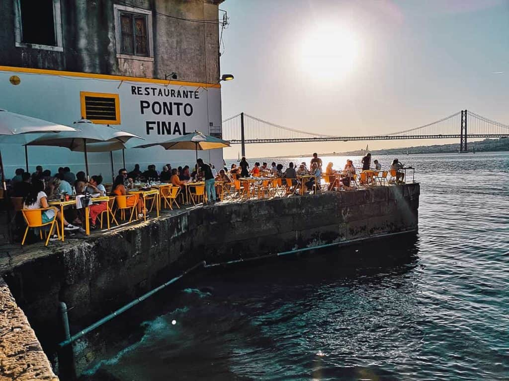 Outdoor dining spot near the harbour of Lisbon