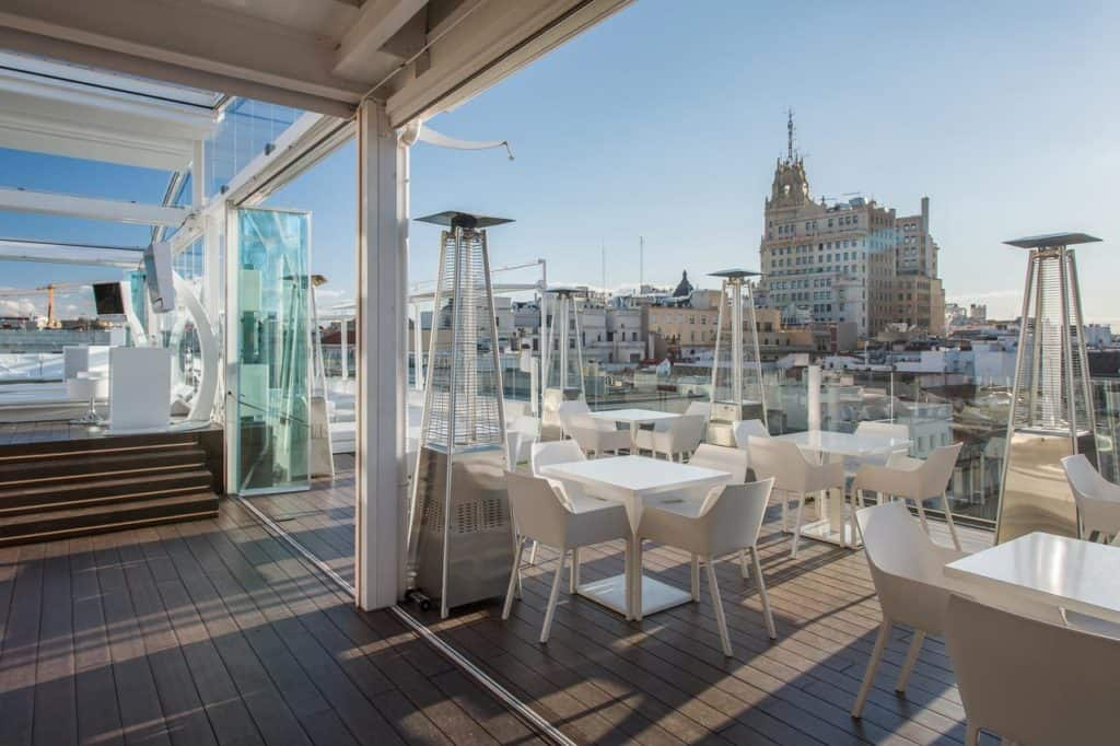 Rooftop terrace with view of the Madrid skyline