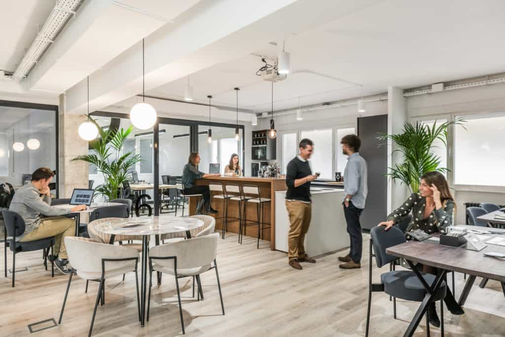 Lounge area of a co-working space in Madrid