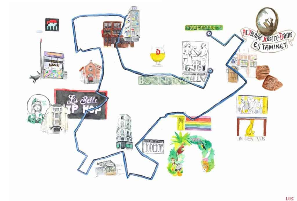Illustrated map of a Brussels walking tour