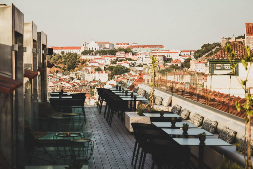 Hotel restaurant with roof terrace overlooking Lisbon