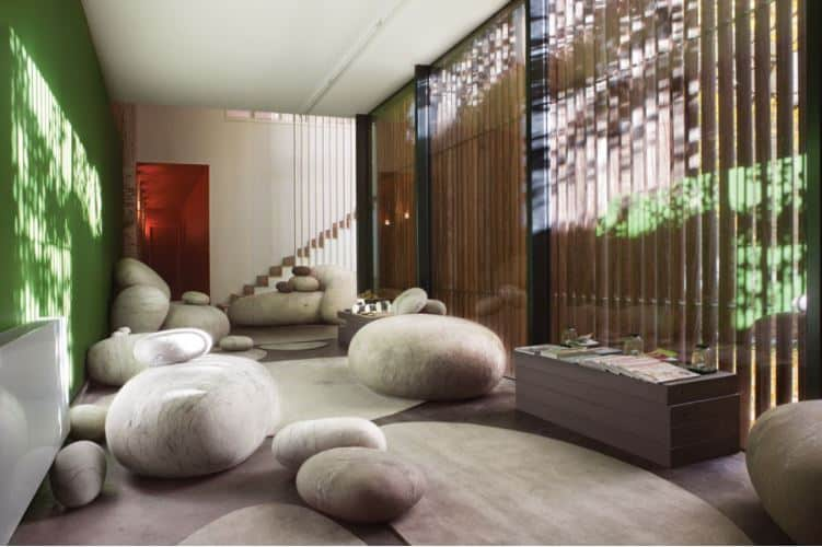 Yoga studio with natural elements