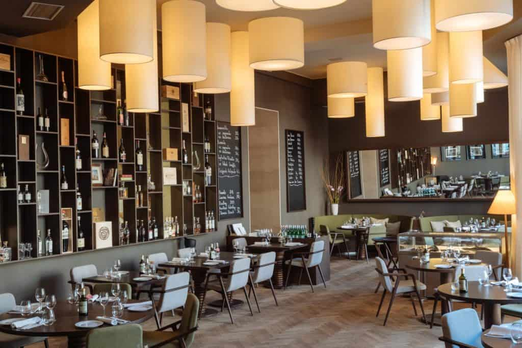 Modern restaurant with special cilinder lighting