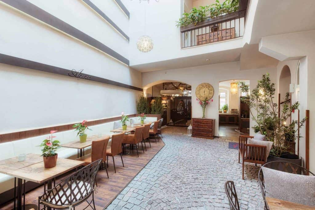 Beautiful patio with cobble stones in a hotel in Prague