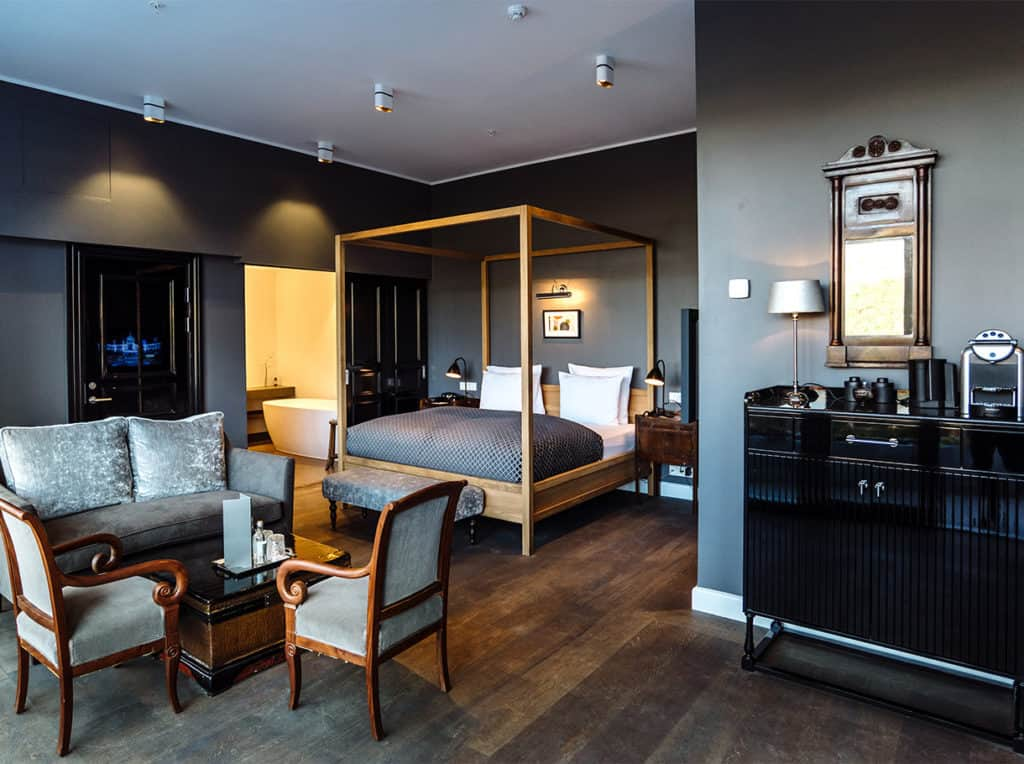 grey scale hotel rooms
