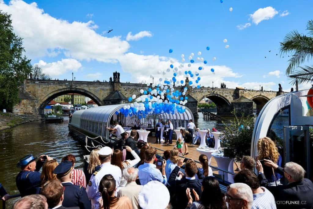 private party on a boat in Prague