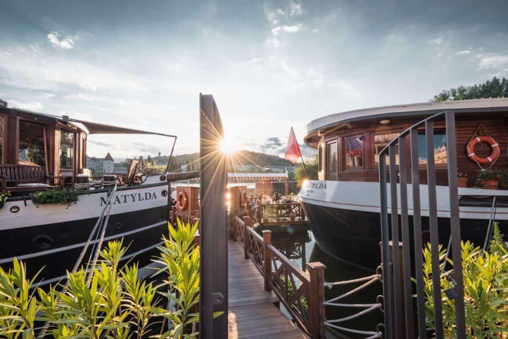 Facade of boat restaurant Matylda in Prague