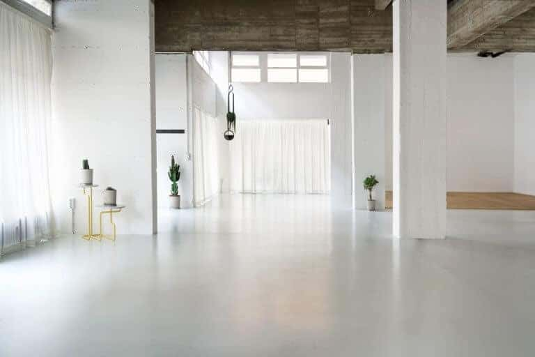white photography studio with natural light