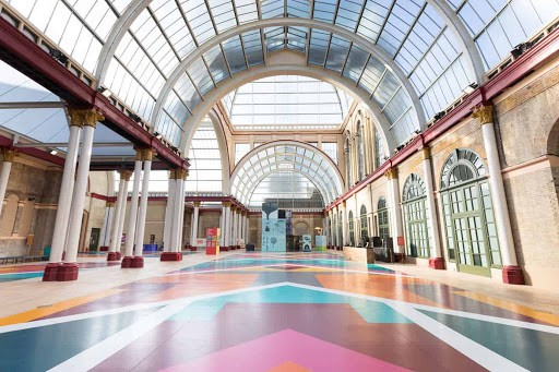 Colourful Venue with High Glass Ceiling