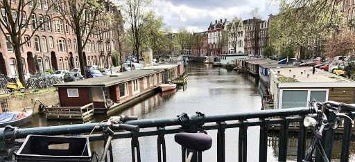 canal in amsterdam from bridge