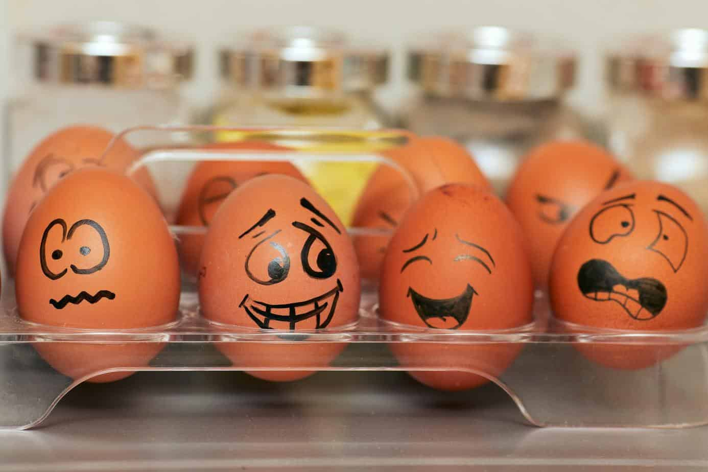 Eggs with facial expressions