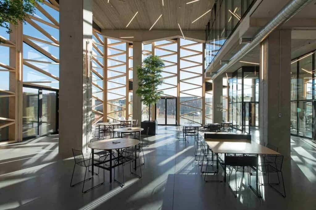 Golden Atrium in Architectural Superstructure