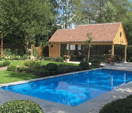 Boardroom in Garden with Pool via Spacehuntr