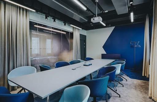 Classy Seminar Venue with Elegant Blue Interior