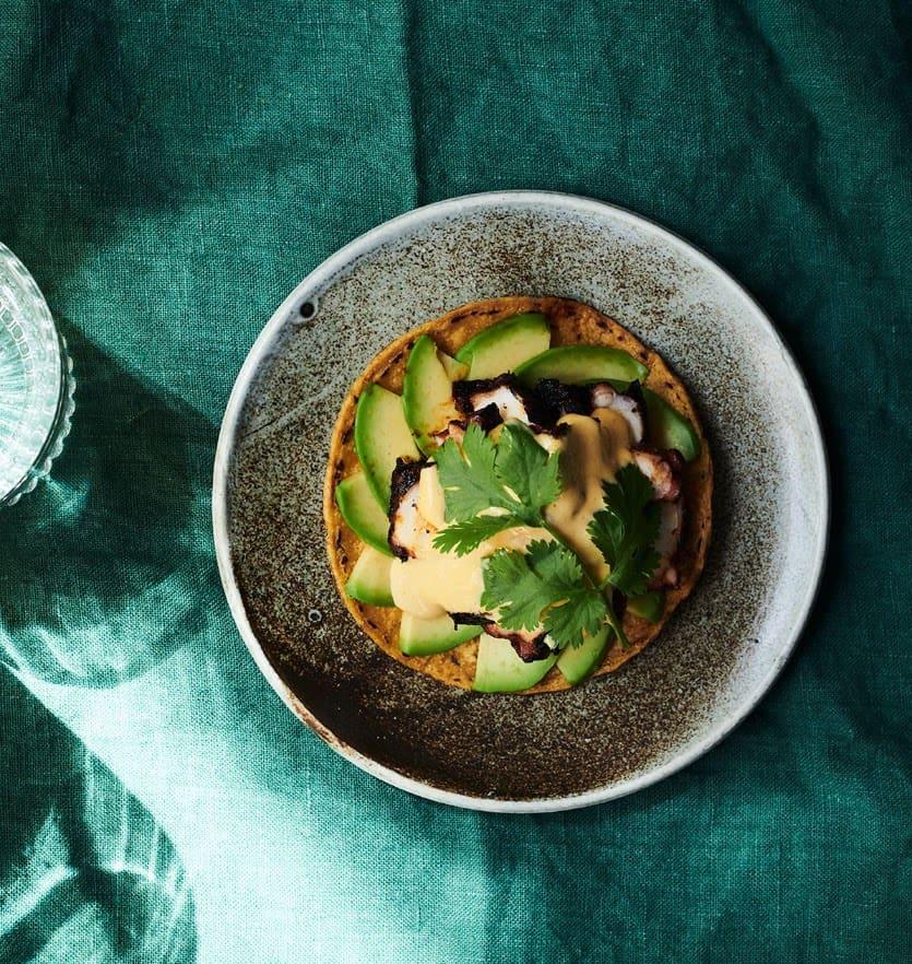 modern dish with avocado