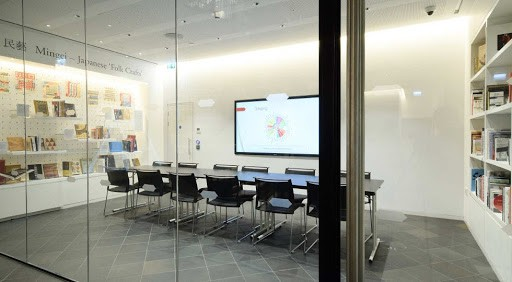 Sleek Meeting Location with a Book Display