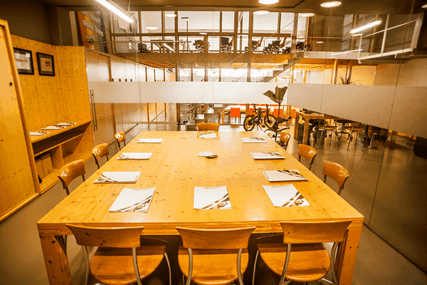 Glass and Wood Hackathon Space in Barcelona