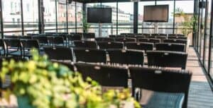 Stylish and lively rooftop terrace for events in Stockholm. Space for cocktails, private dining and conferences.