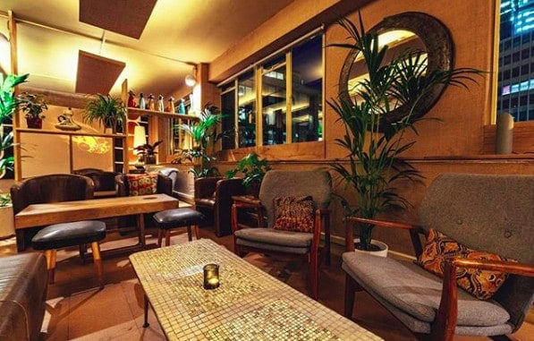 Elegant and cosy bar with a retro touch
