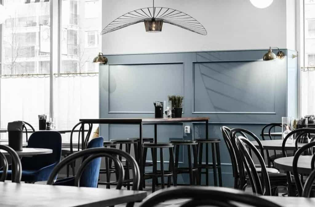 Classy restaurant with a minimalistic touch in Stockholm. Venue for private dining.